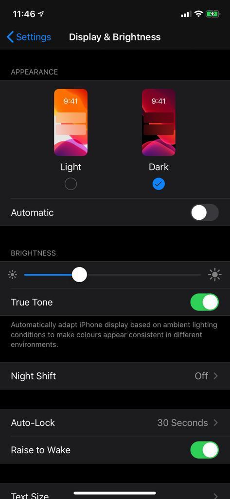 Dark mode in iphone