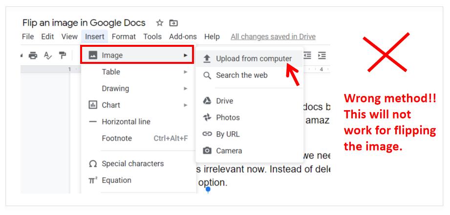 Flip Image in Google Docs